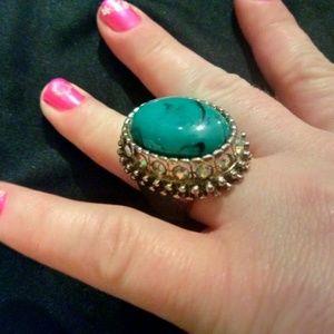 Large oval shaped fashion statement ring, size 6.5